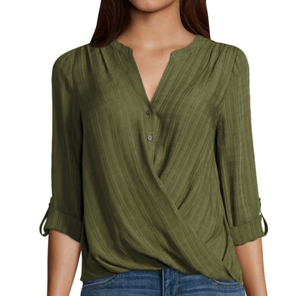 129b6565740d95 NWT JCPenney a.n.a Front Wrap Blouse - Size XL